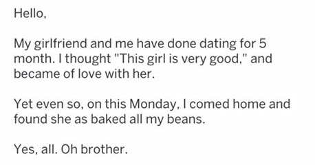 Funny troll thread about beans, relationships, dating.