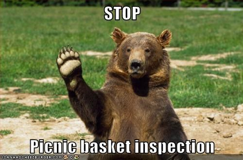 STOP Picnic basket inspection