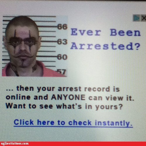 clowns,face tattoos,mugshots