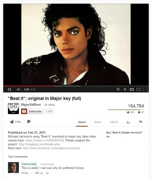 beat it,michael jackson,youtube comments,minor keys