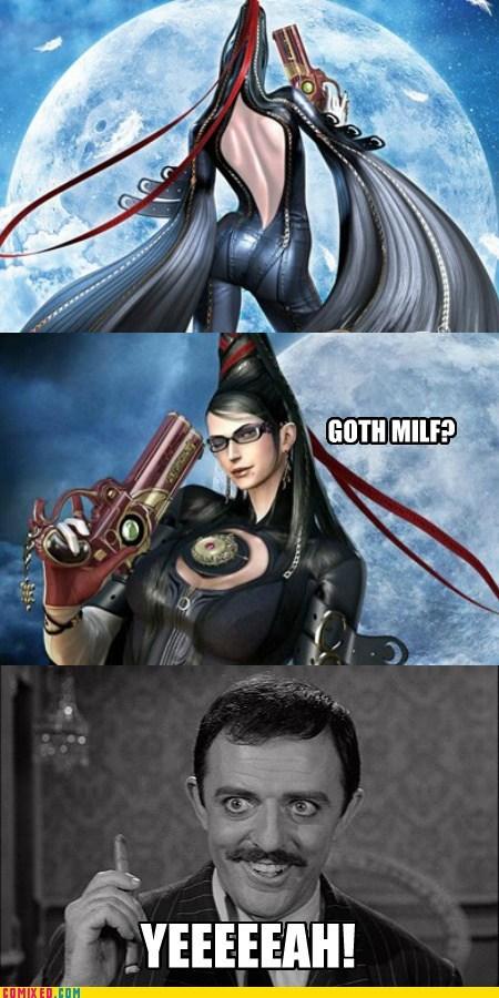 bayonetta,Videogames,milfs,gomez adams,goths