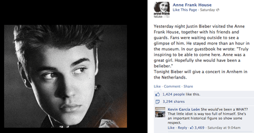 Resentment of the Day: Justin Bieber's Anne Frank House Message