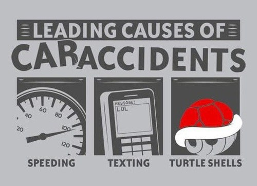 car accidents Mario Kart cars