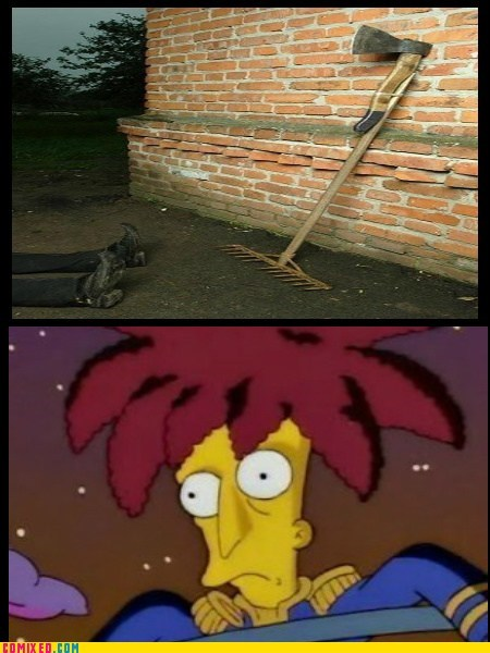 side show bob yikes axes traps rakes simpsons - 7341399040