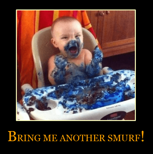 cake smurfs making a mess g rated Parenting FAILS - 7341576192