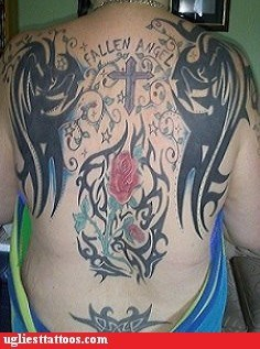 wings back tattoos crosses - 7342723072