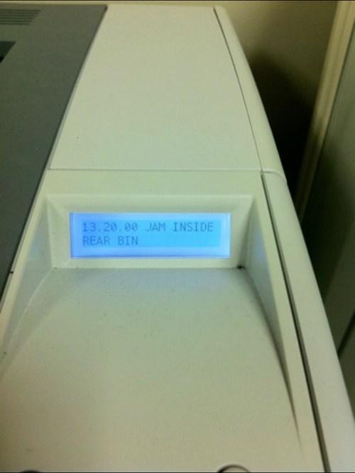 printers,rear bin,jams