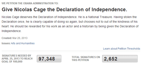 national treasure,nicolas cage,petition,declaration of independence