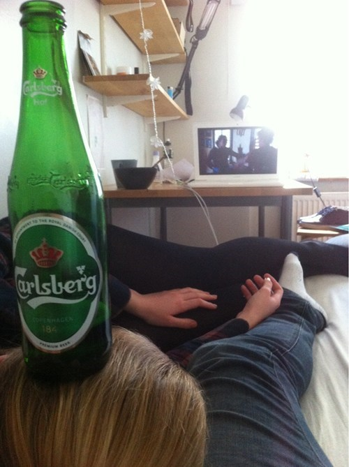 beer fell asleep TV