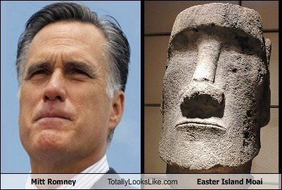 easter island,Mitt Romney,totally looks like,moai