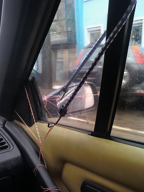 bungee cords,cars,string,there I fixed it