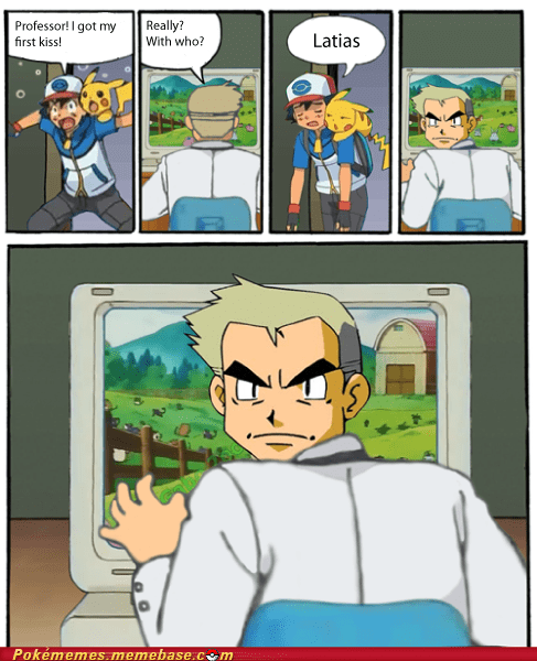 ash latias anime professor oak stare oak - 7348727552