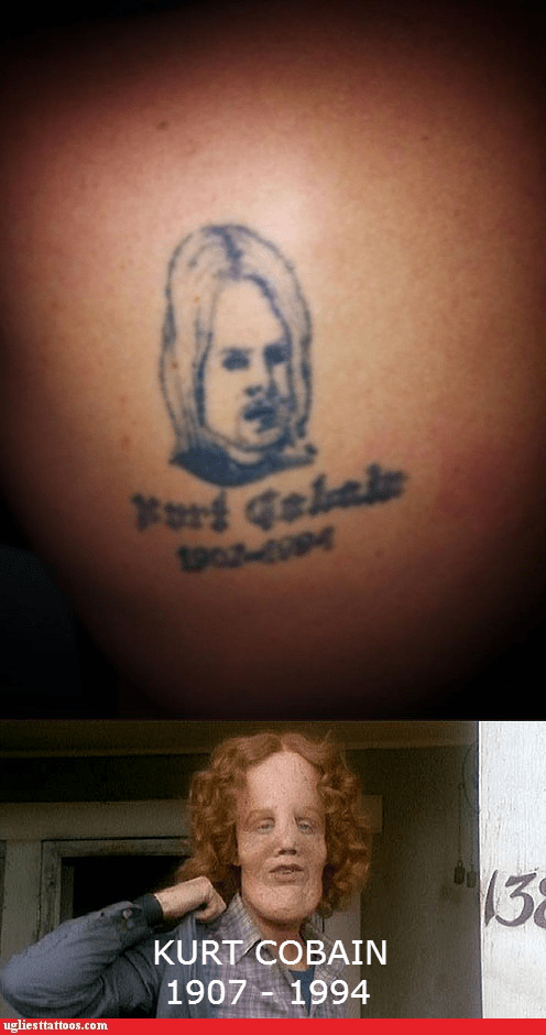 the mask kurt cobain nirvana g rated Ugliest Tattoos - 7348997888