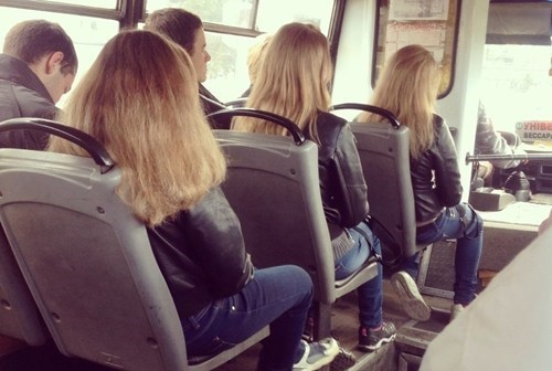 triplets,public transportation,same outfits