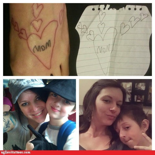 moms,hearts,foot tattoos