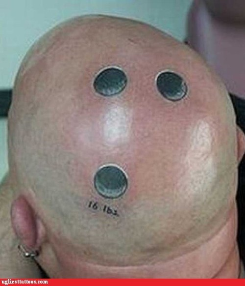 bowling balls head tattoos finger holes - 7350783488