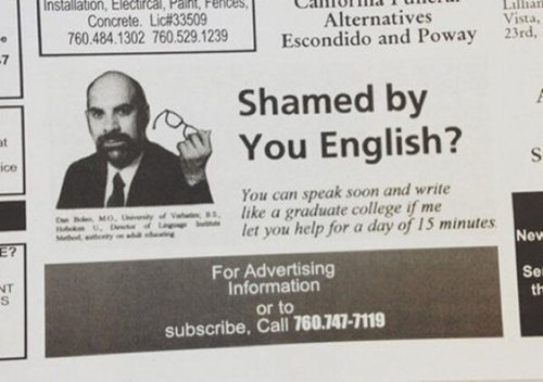 english newspapers ads