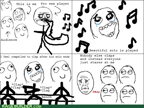 music solo,Awkward,clapping,saxophone,audience