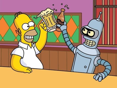 homer simpson,bender,futurama,the simpsons