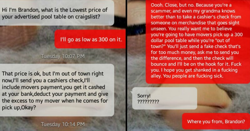 Craigslist scammer gets served a hot plate of revenge