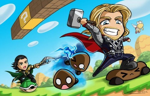 Thor,art,asguard,Super Mario bros