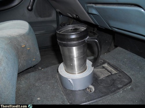 clever coffee cup holder duct tape funny - 7355841280