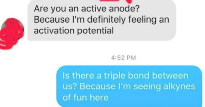 Tinder DMs of Chemistry students match up