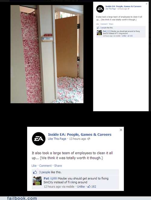 nope,EA,facebook,pranks,video games,failbook