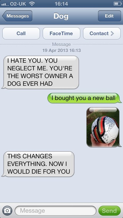 iPhones changes everything ball texts from dog