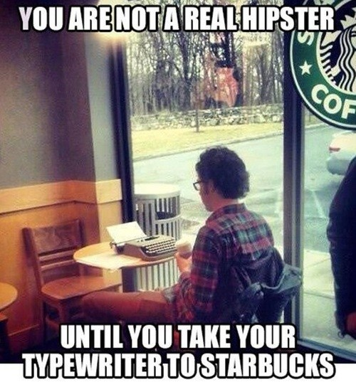 hipsters Starbucks typewriters