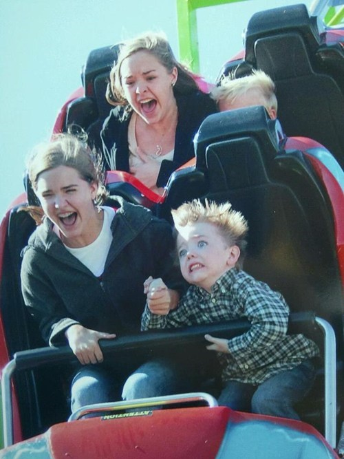 kids,scared,roller coaster