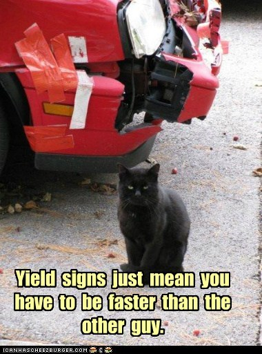 Yield signs just mean you have to be faster than the other guy.