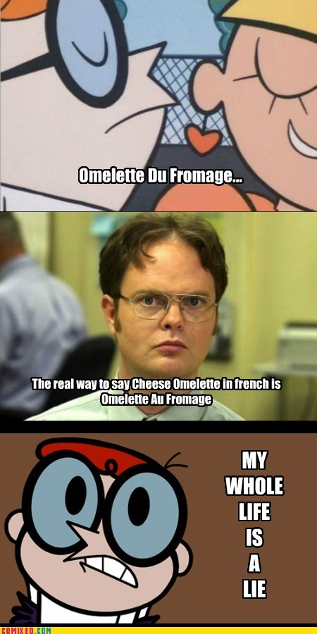 romance,dwight,omelette du fromage,french,Dexter