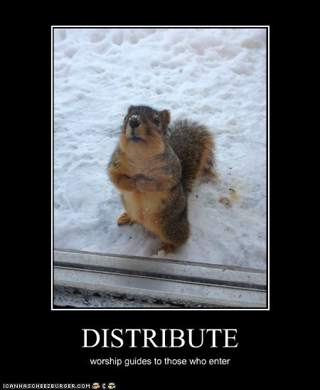DISTRIBUTE worship guides to those who enter