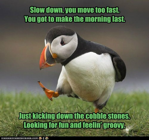 Slow down, you move too fast. You got to make the morning last. Just kicking down the cobble stones. Looking for fun and feelin' groovy.