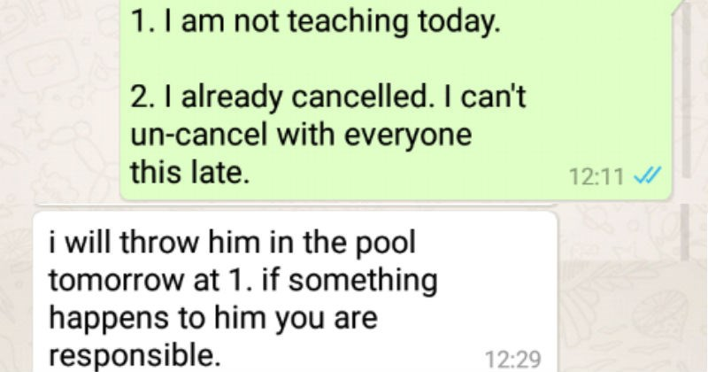 mom demanding free swimming lessons for son
