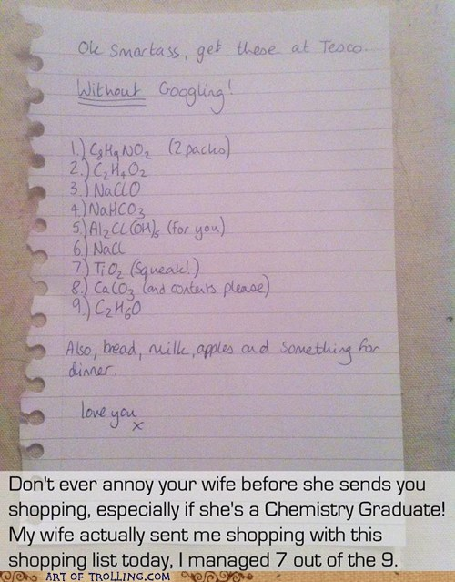 marriage wife grocery list Chemistry molecules - 7368660736
