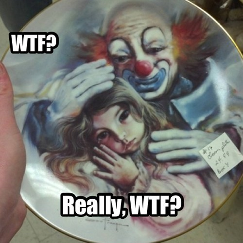 scary,clowns,kids,decorative plates,parenting