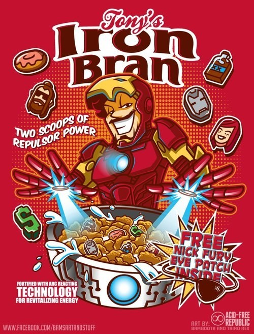 iron man,bran,cereal