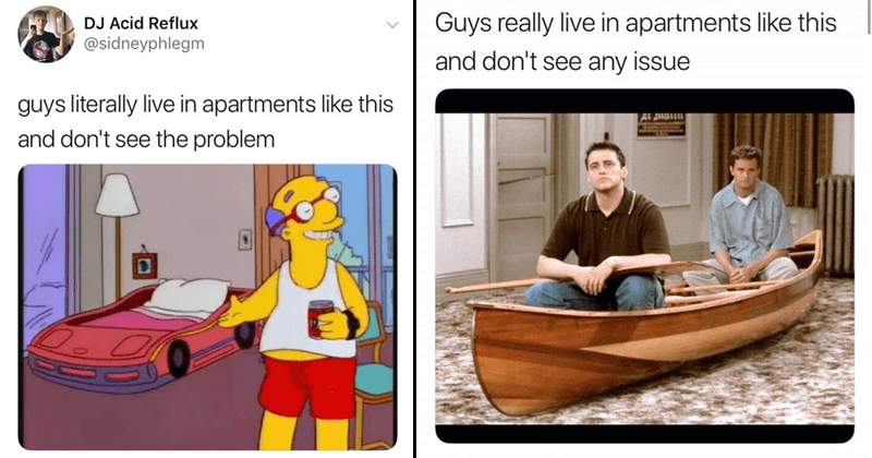 "Funny twitter meme, ""guys really live in apartments like this"""