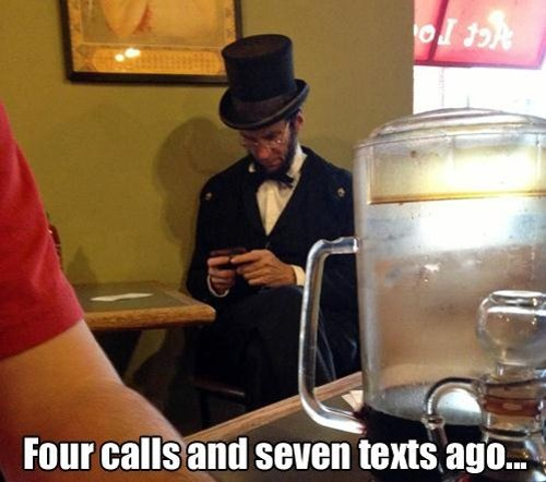 abraham lincoln costume texting - 7373091584