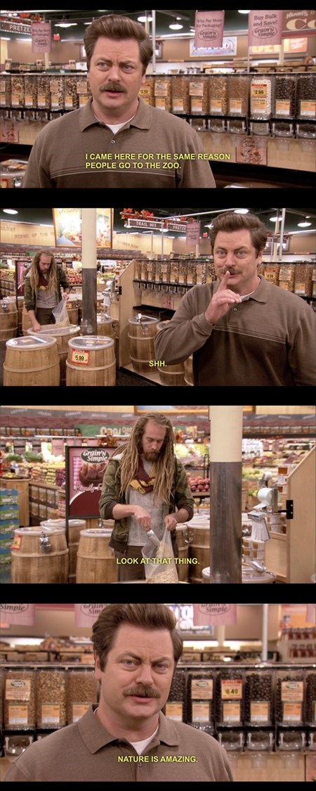 ron swanson,hippies,grocery stores,zoos,food