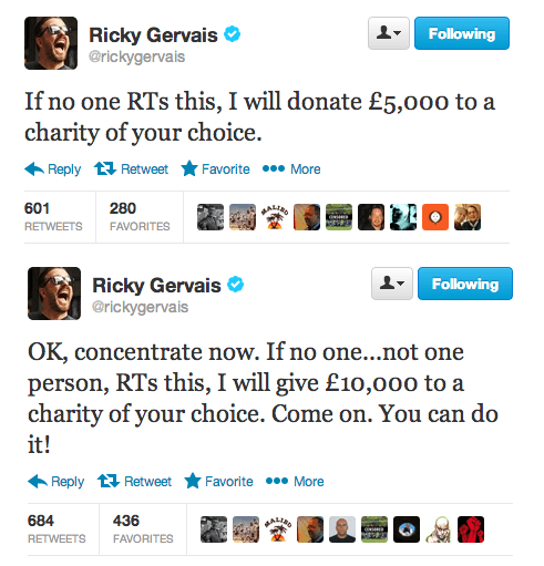 retweets,charity,twitter,ricky gervais