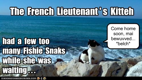 The French Lieutenant ' s Kitteh had a few too many Fishie Snaks while she was waiting . . . Come home soon, mai bewuvved... *belch*