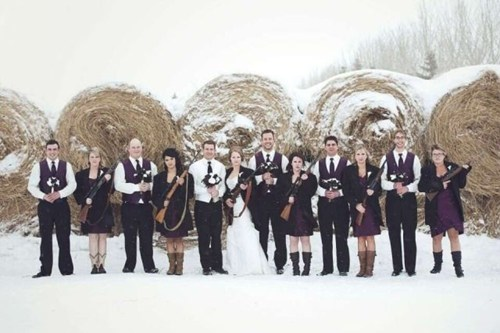 snow,rifles,bridal parties