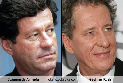 totally looks like joaquim de almeida Geoffrey Rush