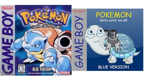 Cartoon - Nintendo Pekemen NINTENDO POKEMON Gotta catch 'em all totta Cafeh'emall! EVERYONE BLUE VERSION BLUE VERSION May Osmes Nintendo GAME BOY GAMEBOY