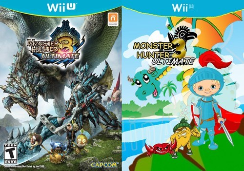 Animated cartoon - Wiiu Wii IMONISRER HUNTER ULTIMATE MONSTER HUNTER ULTIMATE TEEN CAPCOM e NtRted bhe C