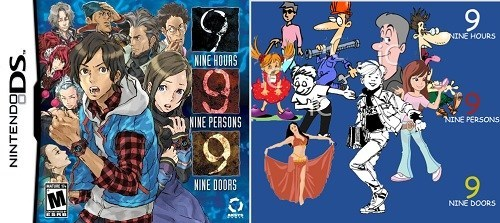 Animated cartoon - 99 NINE HOURS MINE HOURS NINE PERSONS INE PERSONS NINE DOORS MA NINE DOORS NINTENDODS