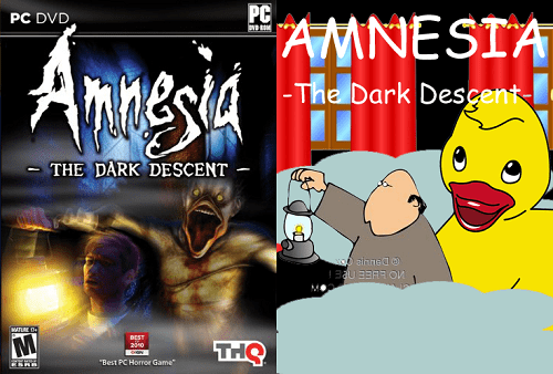 "Animated cartoon - PC PC DVD AMNESIA Amnesia -The Dark Desçent- THE DARK DESCENT so alnned@ 3auEROn MATURE De DEST THS 2090 ""Best PC Horror Game"""